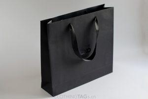 custom printed luxury Embossed black paper shopping bags add satin rope 572