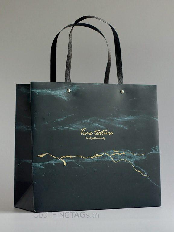 custom paper rope shopping paper bags add Fake rivet 579