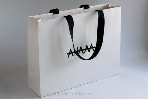 custom printed cheap luxury white paper shopping bags add grosgrain ribbon
