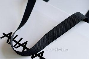 custom printed cheap luxury white paper shopping bags add grosgrain ribbon 593