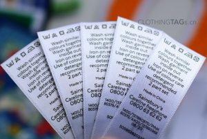 printed white satin fabric care label   flat fuse cut 669