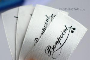 Beige white printed satin fabric main label   flat fuse cut 686
