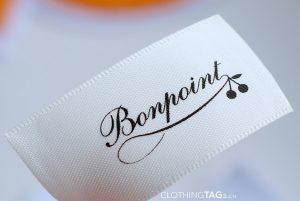 Beige white printed satin fabric main label   flat fuse cut 687